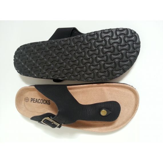 Men black slipper, size UK 10