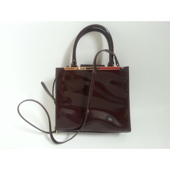 Ladies and women pre-owned burgundy patent bag