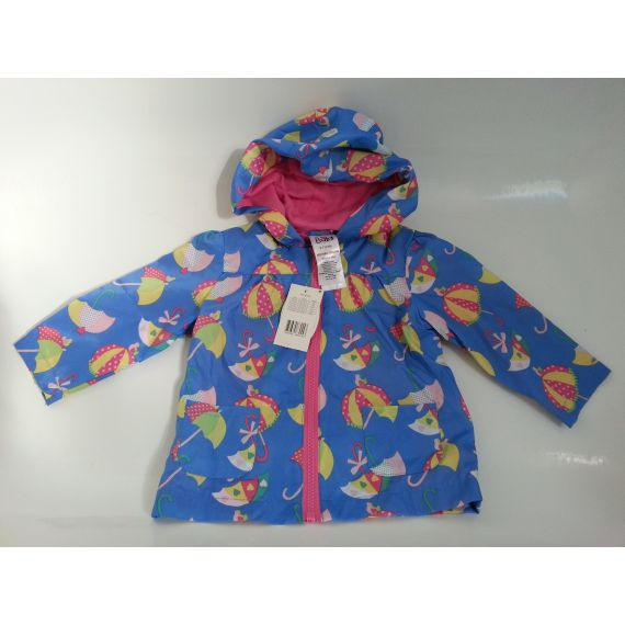 Baby girl blue mix hooded rain cover, 9-12 months