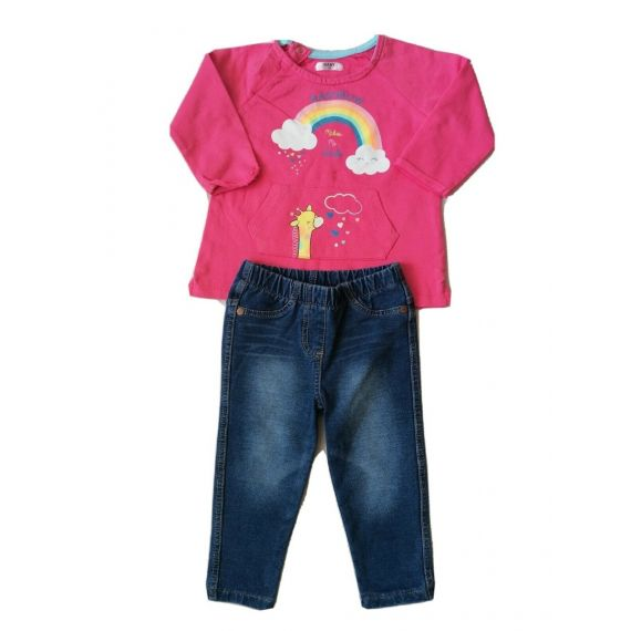 Pink t-shirt/jeans 9-12m