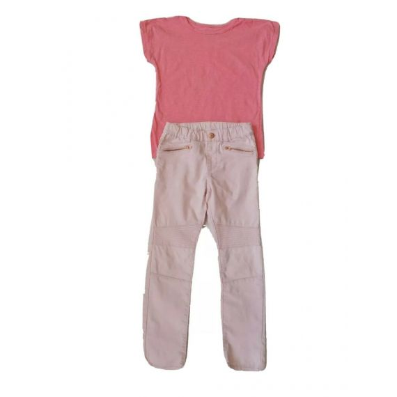 Pink t-shirt/jeans 6-8 years