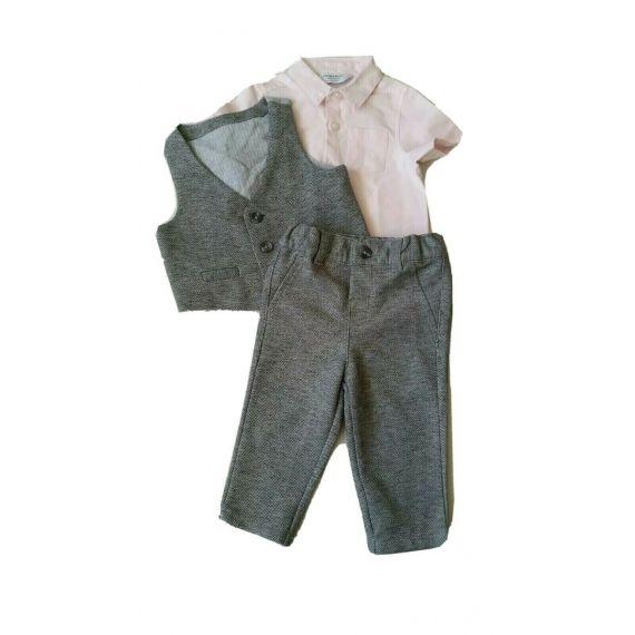 Pink grey suit 3-6m