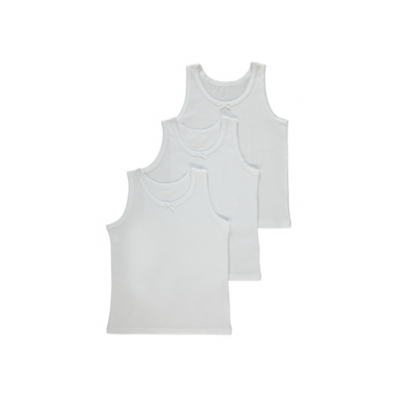 Girls 3 pack white vest