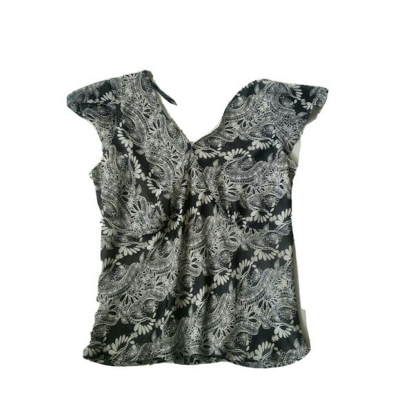 Ladies and Women lack/white mix blouse top UK 22
