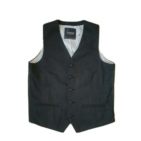 "Men Topman black waistcoat 38"""