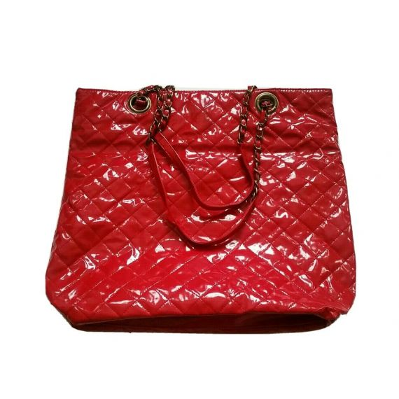 Red patent bag 15 x 13 inches