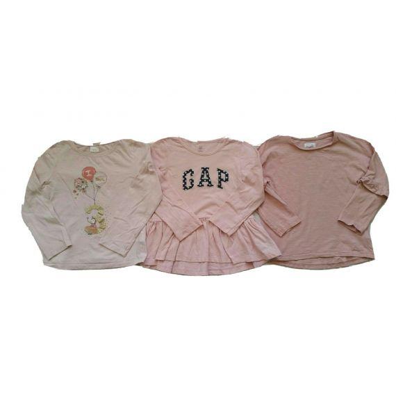 Girls pink long sleeve t-shirt bundle 3 years