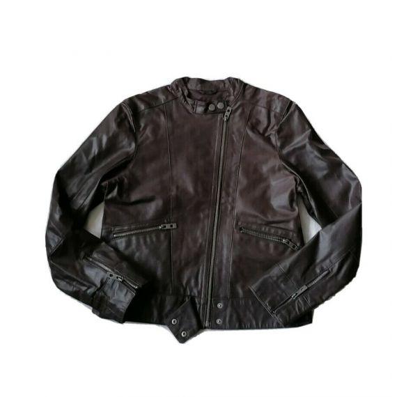 Ladies brown leather jacket large