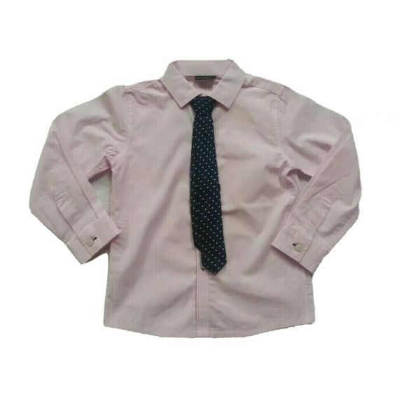 Boys Next pink long sleeve shirt with tie 4 years