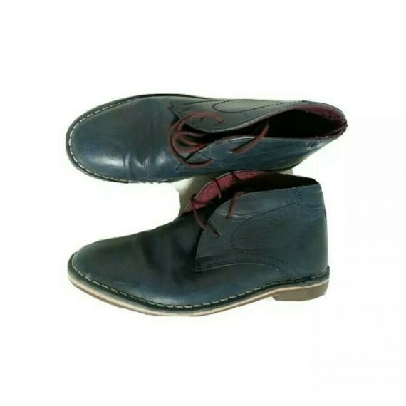 Boys navy blue leather lace-up boot, size UK 2, EU 34.5
