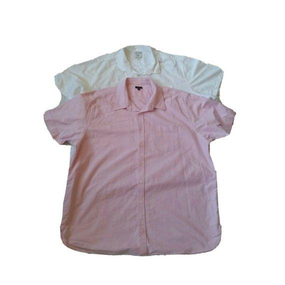 Men white and pink short sleeve shirt, 3XL & 4XL