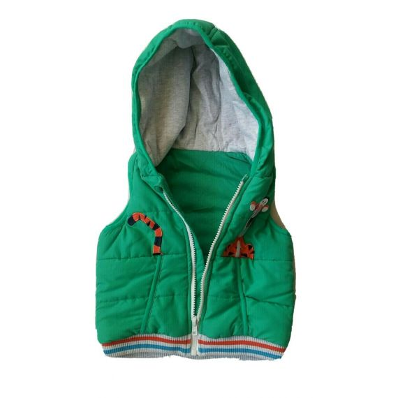 Baby boy green hooded padded gilet 12-18 months