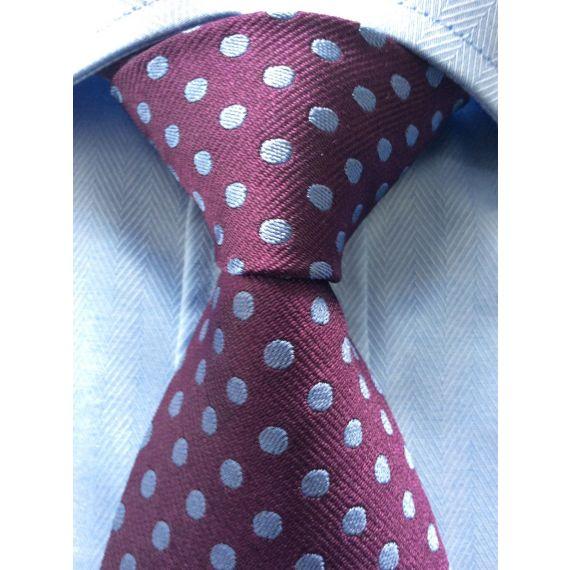 Men burgundy and blue polka dot tie.
