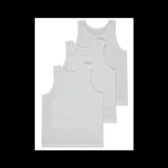 Boys 3 pack white underwear vest